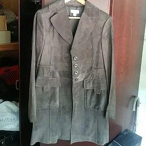 Grey suede Womans pea coat